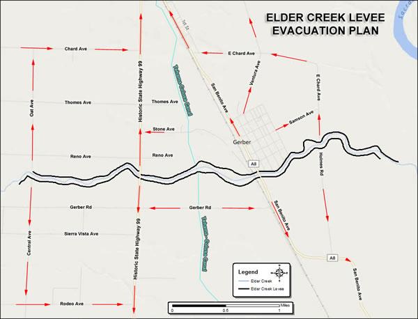 Elder Creek Levee Evacuation Map